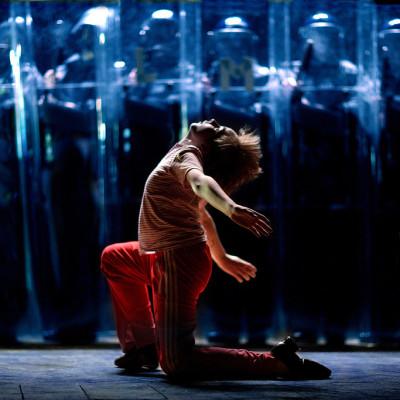 Liam Mower (Billy Elliot) and police shields photo by David Scheinmann